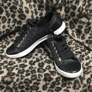 Michael Kors black low top tennis shoes